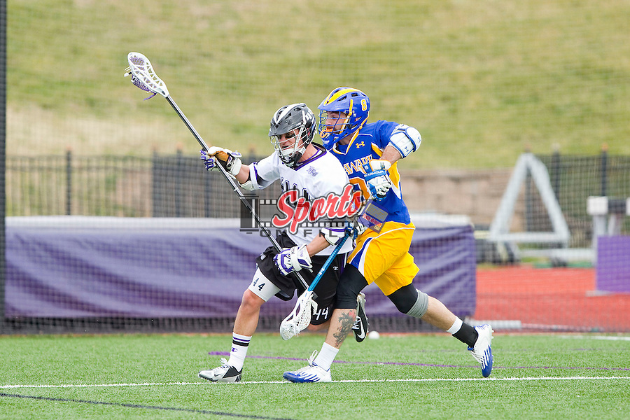 Jeff Hale (44) of the High Point Panthers runs away from the pursuit of Nick Diachenko (8) of the Delaware Blue Hens at Vert Track, Soccer & Lacrosse Stadium on February 2, 2013 in High Point, North Carolina.  The Blue Hens defeated the Panthers 12-10.   (Brian Westerholt/Sports On Film)