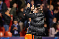 27th November 2019; Mestalla, Valencia, Spain; UEFA Champions League Footballl,Valencia versus Chelsea; Chelsea Manager Frank Lampard greets his supporters - Editorial Use