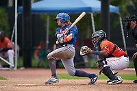 GCL Mets Nick Conti (27) at bat during a Gulf Coast League game against the GCL Astros on August 10, 2019 at FITTEAM Ballpark of the Palm Beaches Training Complex in Palm Beach, Florida.  GCL Astros defeated the GCL Mets 8-6.  (Mike Janes/Four Seam Images)