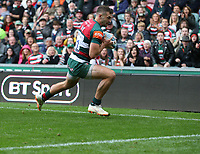 Leicester Tigers' Jonny May scores his side's fifth try <br /> <br /> Photographer Stephen White/CameraSport<br /> <br /> Gallagher Premiership Round 2 - Leicester Tigers v Newcastle Falcons - Saturday September 8th 2018 - Welford Road - Leicester<br /> <br /> World Copyright &copy; 2018 CameraSport. All rights reserved. 43 Linden Ave. Countesthorpe. Leicester. England. LE8 5PG - Tel: +44 (0) 116 277 4147 - admin@camerasport.com - www.camerasport.com