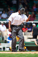 Umpire J.J. January during the 20th Annual Rickwood Classic Game between the Jacksonville Suns and Birmingham Barons on May 27, 2015 at Rickwood Field in Birmingham, Alabama.  Jacksonville defeated Birmingham by the score of 8-2 at the countries oldest ballpark, Rickwood opened in 1910 and has been most notably the home of the Birmingham Barons of the Southern League and Birmingham Black Barons of the Negro League.  (Mike Janes/Four Seam Images)