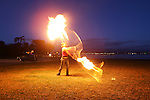 January 27, 2008; Santa Cruz, CA, USA; A fire artist performs at night at Lighthouse Field State Beach in Santa Cruz, CA. Photo by: Phillip Carter