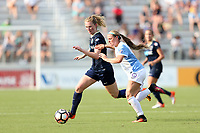Cary, North Carolina  - Saturday April 29, 2017: Samantha Mewis (left) and Nickolette Driesse (right) during a regular season National Women's Soccer League (NWSL) match between the North Carolina Courage and the Orlando Pride at Sahlen's Stadium at WakeMed Soccer Park.
