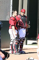 Miguel Montero (L), Henry Blanco (R), Arizona Diamondbacks 2011 spring training workouts at the Diamondbacks new training complex at Salt River Fields at Talking Stick, Scottsdale, AZ - 02/14/2011.Photo by:  Bill Mitchell/Four Seam Images.