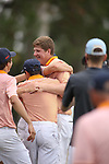 HOWEY IN THE HILLS, FL - MAY 19: Josh Gibson of Hope College celebrates his individual title with teammates during the Division III Men's Golf Championship held at the Mission Inn Resort and Club on May 19, 2017 in Howey In The Hills, Florida. (Photo by Cy Cyr/NCAA Photos via Getty Images)