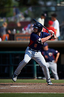 Lancaster JetHawks designated hitter Vince Fernandez (8) at bat during a California League game against the Inland Empire 66ers at San Manuel Stadium on May 20, 2018 in San Bernardino, California. Inland Empire defeated Lancaster 12-2. (Zachary Lucy/Four Seam Images)