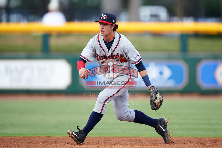 Mississippi Braves shortstop Dansby Swanson (36) fields a ground ball during a game against the Jacksonville Suns on May 1, 2016 at The Baseball Grounds in Jacksonville, Florida.  Jacksonville defeated Mississippi 3-1.  (Mike Janes/Four Seam Images)