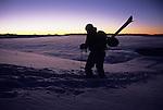 A backcountry skier hikes up Mt. Glory on Teton Pass, Jackson Hole, Wyoming.