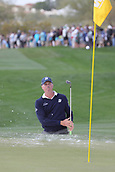 February 2nd 2019, Scottsdale, Arizona, USA; Matt Kuchar hits out of the sand trap on the edge of the ninth hole's green during the third round of the Waste Management Phoenix Open on February 02, 2019, at TPC Scottsdale in Scottsdale, AZ.