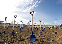 A picture of shovels spread across the dirt field during Groundbreaking Ceremony at new stadium in Santa Clara, California on October 21st, 2012.  San Jose Earthquakes broke Guinness World Record for 6,256 people break ground on Quakes' new stadium.
