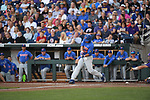 OMAHA, NE - JUNE 26: Austin Langworthy (44) of the University of Florida hits a sacrifice fly that gives his team the first run of the game against Louisiana State University during the Division I Men's Baseball Championship held at TD Ameritrade Park on June 26, 2017 in Omaha, Nebraska. The University of Florida defeated Louisiana State University 4-3 in game one of the best of three series. (Photo by Justin Tafoya/NCAA Photos via Getty Images)