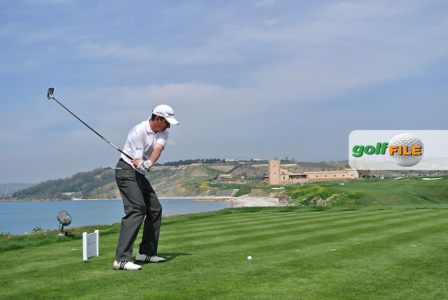 Peter Lawrie (IRL) on the 9th tee on Day 2 of the 2012 Sicilian Open at Verdura Golf and Spa Resort, Sicily, Italy...(Photo Jenny Matthews/www.golffile.ie)