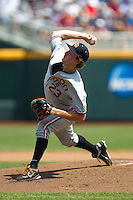 Oregon State pitcher Andrew Moore (23) delivers a pitch to the plate during Game 11 of the 2013 Men's College World Series against the Mississippi State Bulldogs on June 21, 2013 at TD Ameritrade Park in Omaha, Nebraska. The Bulldogs defeated the Beavers 4-1, to reach the CWS Final and eliminating Oregon State from the tournament. (Andrew Woolley/Four Seam Images)