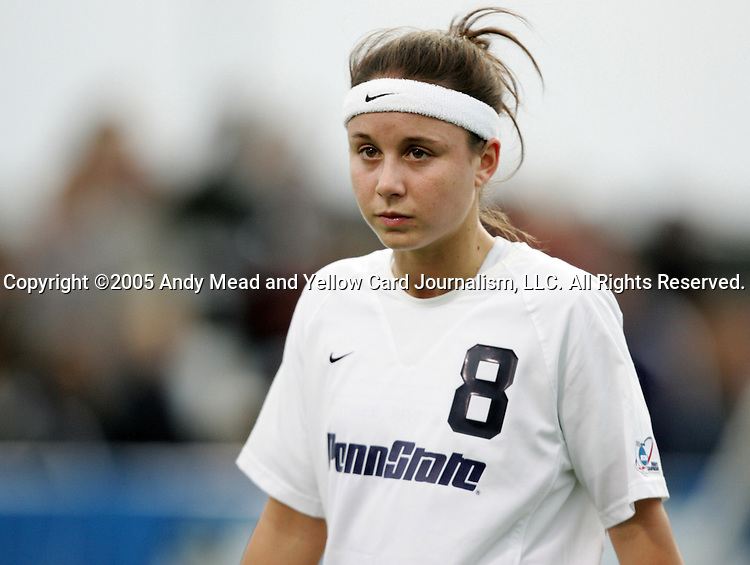 2 December 2005: PSU's Angie Woznuk. The University of Portland Pilots defeated the Penn State Nittany Lions 4-3 on penalty kicks after the teams played to a 0-0 overtime tie in their NCAA Division I Women's College Cup semifinal at Aggie Soccer Stadium in College Station, TX.