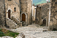 Gran Sasso National Park, Abruzzo, Italy, June 2008. The medieval town of Santo Stefano di Sessanio lies on a hill overlooking the valley. Photo by Frits Meyst/Adventure4ever.com