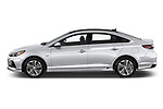 Car driver side profile view of a 2018 Hyundai Sonata Hybrid Limited 4 Door Sedan