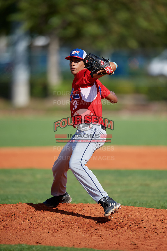 Cesar Tangui (10) during the Dominican Prospect League Elite Florida Event at Pompano Beach Baseball Park on October 14, 2019 in Pompano beach, Florida.  Cesar Tangui (10).  (Mike Janes/Four Seam Images)