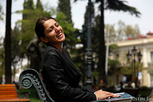 Portrait of Ana Katamidze in Tbilisi.