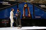 25 MAR 2016:  Columbia assistant coach Seoung Woo Lee has a word with Jackie Dubrovich during her final match in the women's foil event at the Division I Women's Fencing Championship held at the Gosman Sports and Convention Center in Waltham, MA.   Damian Strohmeyer/NCAA Photos