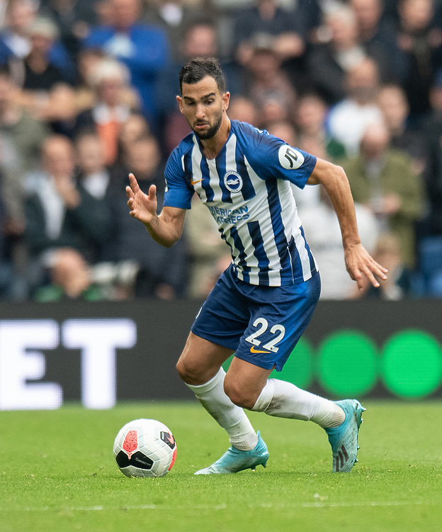 Brighton & Hove Albion's Martin Montoya<br /> <br /> Photographer David Horton/CameraSport<br /> <br /> The Premier League - Brighton and Hove Albion v Tottenham Hotspur - Saturday 5th October 2019 - The Amex Stadium - Brighton<br /> <br /> World Copyright © 2019 CameraSport. All rights reserved. 43 Linden Ave. Countesthorpe. Leicester. England. LE8 5PG - Tel: +44 (0) 116 277 4147 - admin@camerasport.com - www.camerasport.com