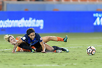 Houston, TX - Sunday August 13, 2017:  Camille Levin and Sydney Leroux during a regular season National Women's Soccer League (NWSL) match between the Houston Dash and FC Kansas City at BBVA Compass Stadium.