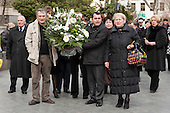 Trade union representatives with a wreath at a memorial rally on the anniversary of the 1989 Soviet massacre of 20 hunger strikers outside the Parliament building in Tbilisi, Georgia.