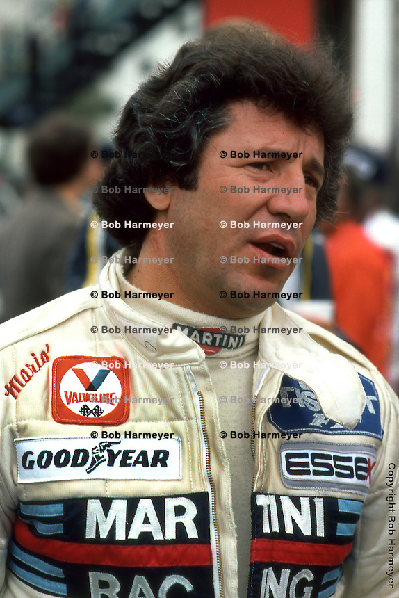LONG BEACH, CA - APRIL 8: Reigning world champion Mario Andretti in the pit lane prior to driving his Lotus 79 R5/Ford Cosworth DFV during the United States Grand Prix West on April 8, 1979, on the temporary street course in Long Beach, California.