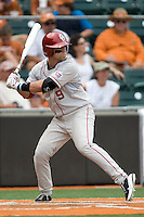 Designated hitter Evan Mistich #9 of the Oklahoma Sooners at bat against the Texas Longhorns in NCAA Big XII baseball on May 1, 2011 at Disch Falk Field in Austin, Texas. (Photo by Andrew Woolley / Four Seam Images)