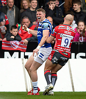 Ruaridh McConnochie of Bath Rugby celebrates his first half try. Gallagher Premiership match, between Gloucester Rugby and Bath Rugby on April 13, 2019 at Kingsholm Stadium in Gloucester, England. Photo by: Patrick Khachfe / Onside Images