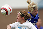 09 October 2005: North Carolina's Heather O'Reilly (left) and Duke's Kelly McCann (right). The Duke Blue Devils defeated the #1 ranked Carolina Tar Heels 2-1 at Fetzer Field in Chapel Hill, North Carolina in a regular season Atlantic Coast Conference women's soccer game.