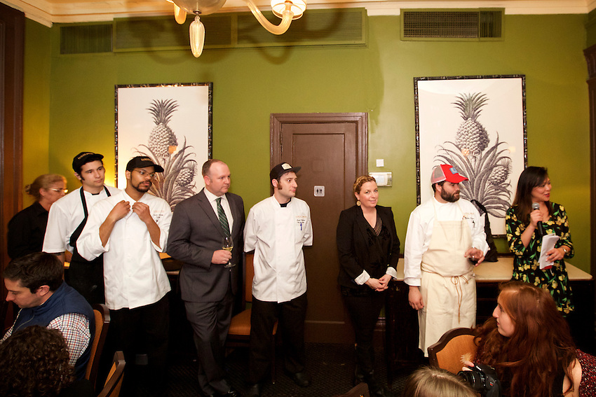 New York, NY - February 17, 2016: Chef Justin Devillier and his team from New Orleans' Le Petite Grocery presented a dinner at the James Beard House in Greenwich Village.<br /> <br /> Clay Williams / claywilliamsphoto.com