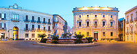 Ortigia at night, panoramic photo of The Fountain of Artemis in Archimedes Square (Piazza Archimede), Syracuse (Siracusa), UNESCO World Heritage Site, Sicily, Italy, Europe. This is a panoramic photo of Ortigia at night showing the Fountain of Artemis in Archimedes Square (Piazza Archimede), Syracuse (Siracusa), UNESCO World Heritage Site, Sicily, Italy, Europe.