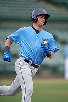 Tampa Bay Rays first baseman Brendan McKay (38) runs to first base after hitting a single during an Instructional League game against the Baltimore Orioles on October 5, 2017 at Ed Smith Stadium in Sarasota, Florida.  (Mike Janes/Four Seam Images)