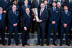 King Felipe VI of Spain receive in royal audience to  Florentino Perez of Real Madrid Basketball Team, new champions of Turkish Airlines Euroleague 2017-2018 at Zarzuela Palace in Madrid, Spain. May 23, 2018. (ALTERPHOTOS/Borja B.Hojas)