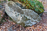"Remnants of stone splitting (plug and feathers) in the area of ""The Great Trestle"" along the Profile & Franconia Notch Railroad in Franconia, New Hampshire. This railroad was in operation from 1879-1921, and only serviced the Profile House in Franconia Notch. The old Route 3 was also in this general location so this boulder could also be from the building of the old Route 3."