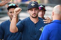 Starting pitcher Christian James (30) of the Columbia Fireflies is greeted after coming out of a game against the Augusta GreenJackets on Saturday, June 1, 2019, at Segra Park in Columbia, South Carolina. Columbia won, 3-2. (Tom Priddy/Four Seam Images)