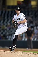 Charlotte Knights relief pitcher Ryan Burr (33) in action against the Buffalo Bison at BB&T BallPark on August 14, 2018 in Charlotte, North Carolina. The Bison defeated the Knights 14-5.  (Brian Westerholt/Four Seam Images)