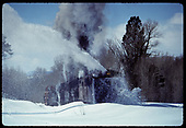 Train coming out of Chama with Rotary OY plowing snow<br /> D&amp;RGW  Chama, NM