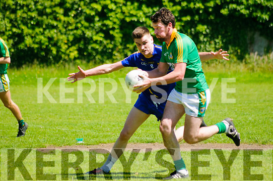 Finuge V Ballymacelligott: Finuge's Pat Corridon wins the ball ahead of Ballymacelligott's Daniel O'Shea in their county league clash in O'Sullivan Park, Finuge on Sunday last.