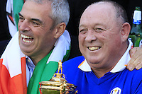 "Captain Paul McGinley and his long time caddy Jimmy ""Edinburgh"" Rae with the trophy celebrate after Team Europe wins the Ryder Cup 16 1/2 to 11 1/2 points after Sunday's Singles Matches of the Ryder Cup 2014 played on the PGA Centenary Course at the Gleneagles Hotel, Auchterarder, Scotland.: Picture Eoin Clarke, www.golffile.ie / www.golftouri,ages.com: 28th September 2014"