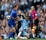 Ben Chillwell of Leicester City in action with Raheem Sterling of Manchester City during the English Premier League match at the Etihad Stadium, Manchester. Picture date: May 13th 2017. Pic credit should read: Simon Bellis/Sportimage