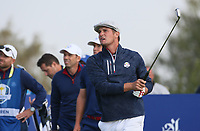 Bryson Dechambeau (Team USA) plays to the 8th during Friday's Foursomes, at the Ryder Cup, Le Golf National, &Icirc;le-de-France, France. 28/09/2018.<br /> Picture David Lloyd / Golffile.ie<br /> <br /> All photo usage must carry mandatory copyright credit (&copy; Golffile | David Lloyd)