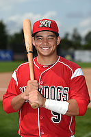 Batavia Muckdogs catcher Chris Hoo (5) poses for a photo before the second game of a doubleheader against the Connecticut Tigers on July 20, 2014 at Dwyer Stadium in Batavia, New York.  Connecticut defeated Batavia 2-0.  (Mike Janes/Four Seam Images)