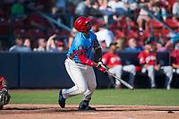 Spokane Indians first baseman Curtis Terry (28) follows through on his swing during a Northwest League game against the Vancouver Canadians at Avista Stadium on September 2, 2018 in Spokane, Washington. The Spokane Indians defeated the Vancouver Canadians by a score of 3-1. (Zachary Lucy/Four Seam Images)