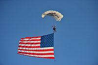 Stanford, CA - Saturday July 01, 2017: Parachutist, American Flag during a Major League Soccer (MLS) match between the San Jose Earthquakes and the Los Angeles Galaxy at Stanford Stadium.