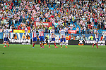 Atletico de Madrid´s players that's the supporters during 2014-15 La Liga match between Atletico de Madrid and Athletic Club at Vicente Calderon stadium in Madrid, Spain. May 02, 2015. (ALTERPHOTOS/Luis Fernandez)