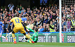 Chelsea's Cesc Fabregas scoring his sides opening goal during the Premier League match at the Stamford Bridge Stadium, London. Picture date: April 1st, 2017. Pic credit should read: David Klein/Sportimage via PA Images