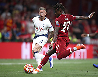 Liverpopol's Divock Origi kicks to score during the UEFA Champions League final football match between Tottenham Hotspur and Liverpool at Madrid's Wanda Metropolitano Stadium, Spain, June 1, 2019. Liverpool won 2-0.<br /> UPDATE IMAGES PRESS/Isabella Bonotto