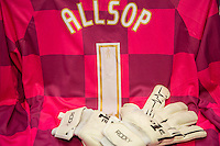 Goalkeeper Ryan Allsop of Wycombe Wanderers shirt and gloves during the Sky Bet League 2 match between Wycombe Wanderers and Luton Town at Adams Park, High Wycombe, England on 6 February 2016. Photo by Massimo Martino / PRiME Media Images.