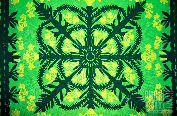 Close up of a Hawaiian quilt